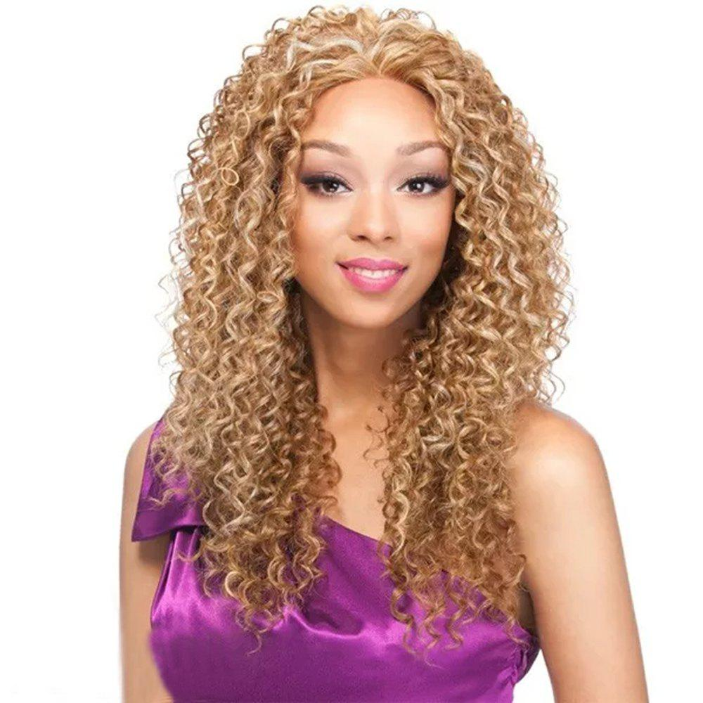 Light Blonde Afro Kinky Curly Long Hair Synthetic Wig for African American Women - BLONDE 20INCH