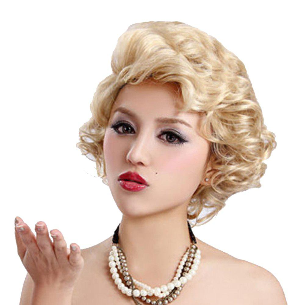 Synthetic Blonde Short Curly Hair Charming Monroe Cosplay Party Wigs for White Women - BLONDE 8INCH