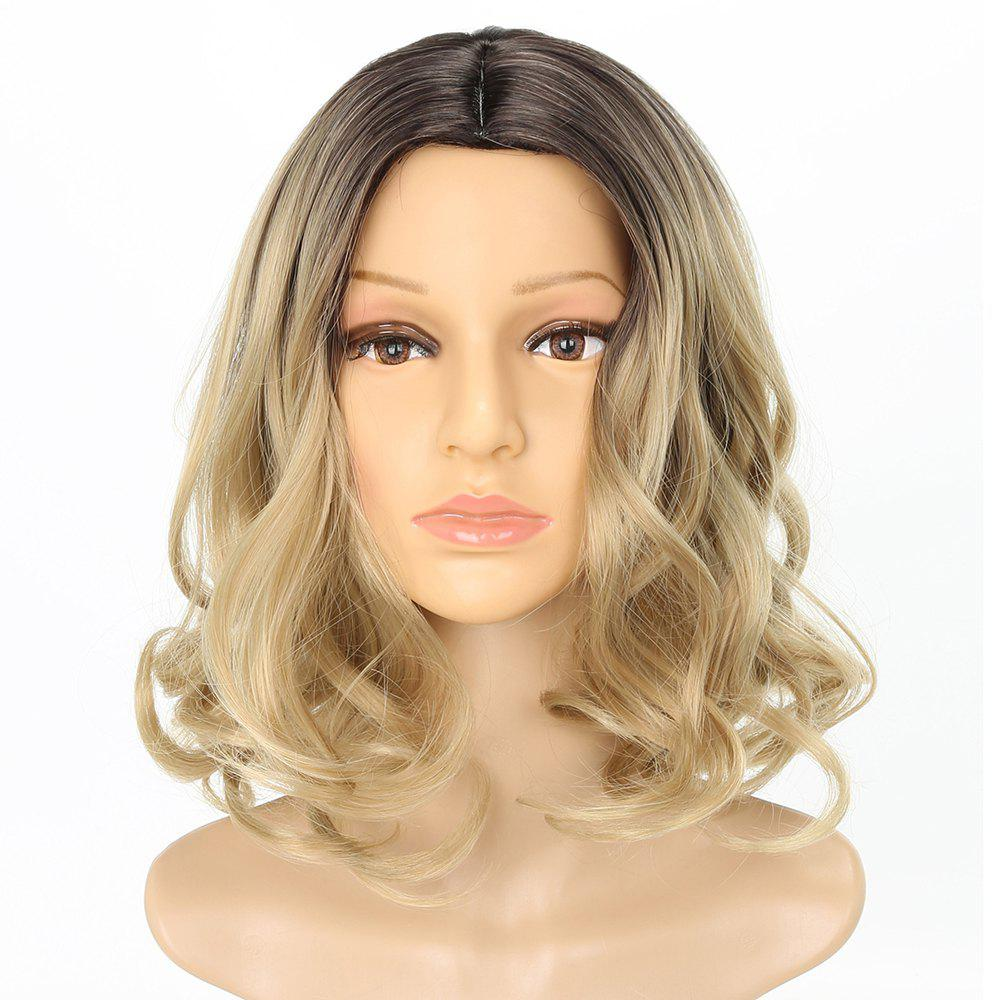 Dark Root Blonde Medium Length Fashion Fluffy Wavy Style Synthetic Hair Wig for Women - BLONDE 14INCH