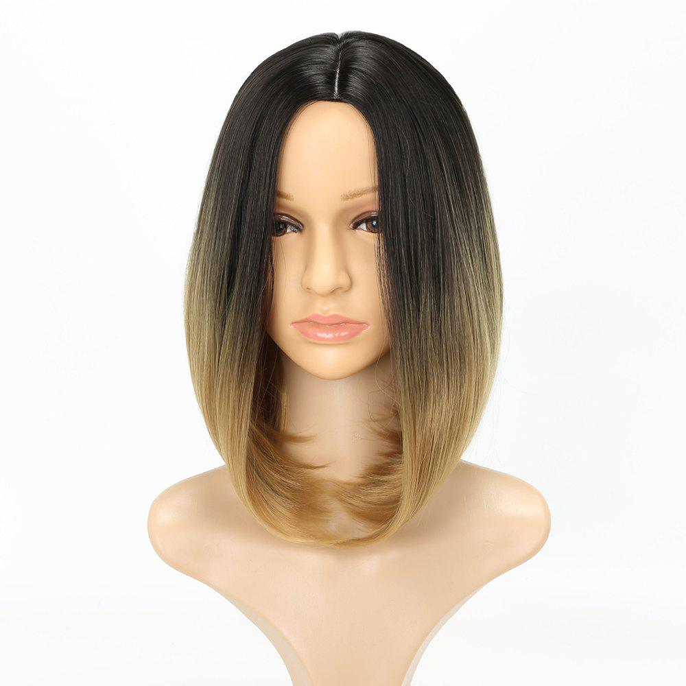 Medium Length Fashion Straight Bob Haircut Dark Root Blonde Synthetic Hair Wig for Women - GRADIENT 14INCH