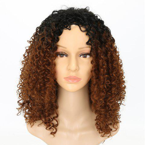 Fashion Dark Root Medium Brown Ombre Hair Synthetic Long Curly Afro African American Wigs for Women - GRADUAL BROWN 14INCH