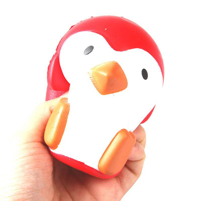 Jumbo Squishy PU Slow Rebound Stress Relief Toy Replica Red Penguin for Adults - RED