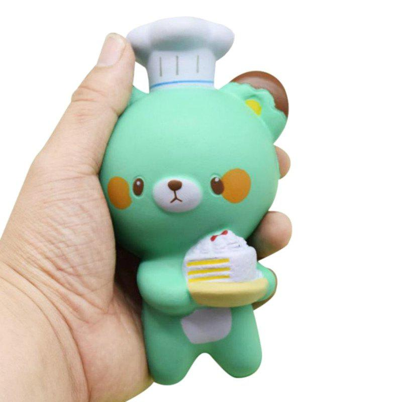 Jumbo Squishy PU Slow Rebound Soulagement du Stress Jouet Replica Cartoon Chef Ours pour Adultes 1 PC - GREEN