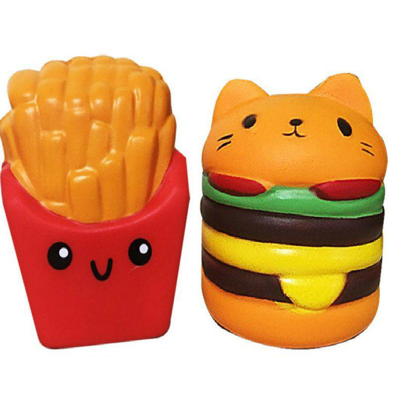 Jumbo Squishy Slow Rebound Stress Relief Toy Replica Combination of French Fries with Burger Cat for Adults 2PCS - COLORMIX