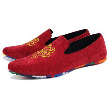 ZEACAVA Men's Fashion Casual  Sneakers Peas Shoes - RED 43