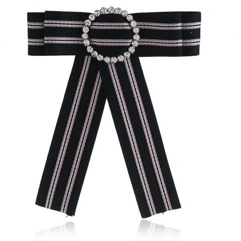 New Fashion Rhinestone Round Bowknot Brooch Boutonniere Neck Wear Striped Dual Use Temperament Cravat Tie for Lady - BLACK