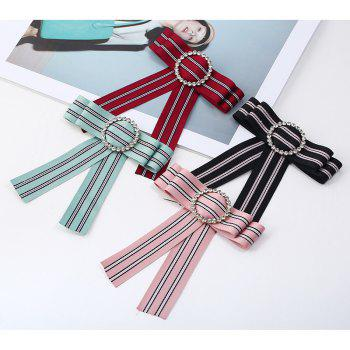 New Fashion Rhinestone Round Bowknot Brooch Boutonniere Neck Wear Striped Dual Use Temperament Cravat Tie for Lady - RED