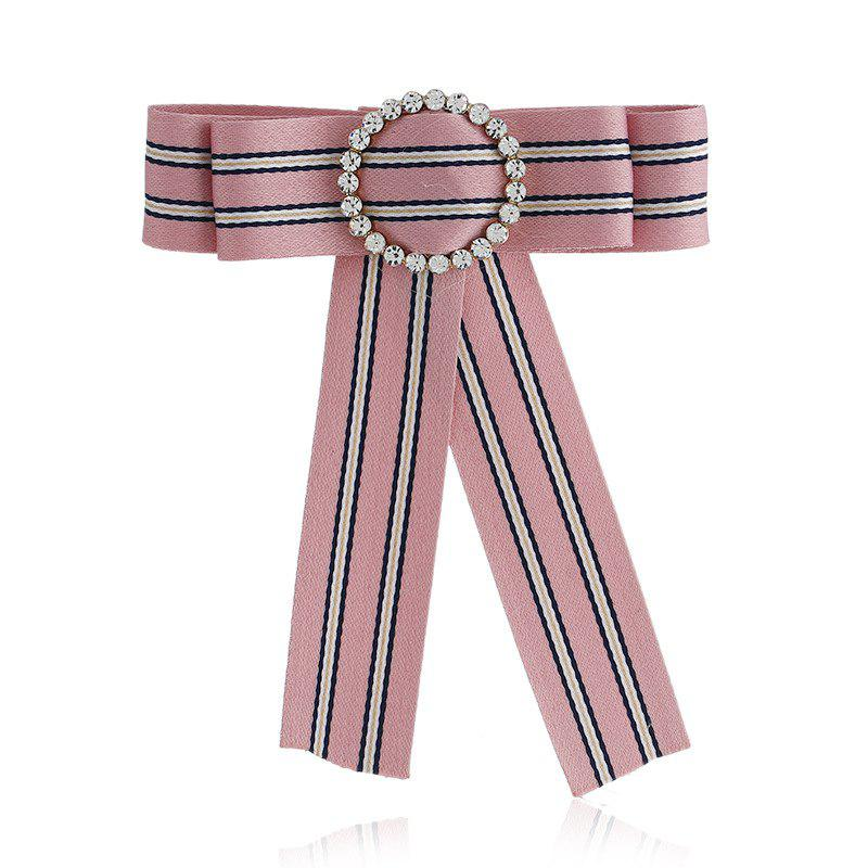 New Fashion Rhinestone Round Bowknot Brooch Boutonniere Neck Wear Striped Dual Use Temperament Cravat Tie for Lady - PINK