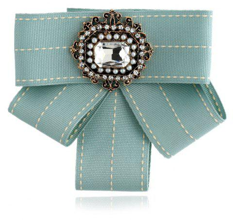 New Fashion Rectangular Rhinestone Beads Bowknot Brooch Boutonniere Dual Use Temperament Cravat Tie - GREEN