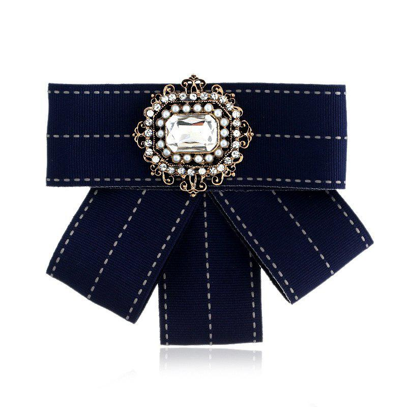 New Fashion Rectangular Rhinestone Beads Bowknot Brooch Boutonniere Dual Use Temperament Cravat Tie - NAVY
