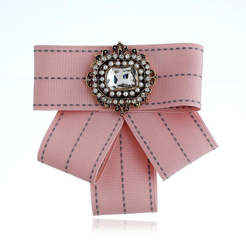 New Fashion Rectangular Rhinestone Beads Bowknot Brooch Boutonniere Dual Use Temperament Cravat Tie - PINK