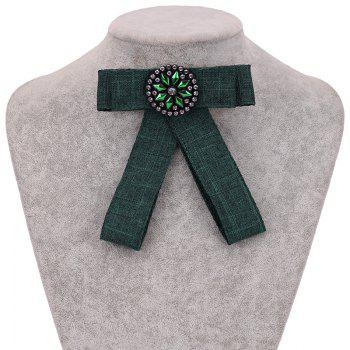 New Fashion Rectangular Rhinestone Bowknot Brooch Boutonniere Dual Use Temperament Cravat Crystal Tie Accessories - GREEN
