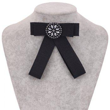 New Fashion Rectangular Rhinestone Bowknot Brooch Boutonniere Dual Use Temperament Cravat Crystal Tie Accessories - BLACK