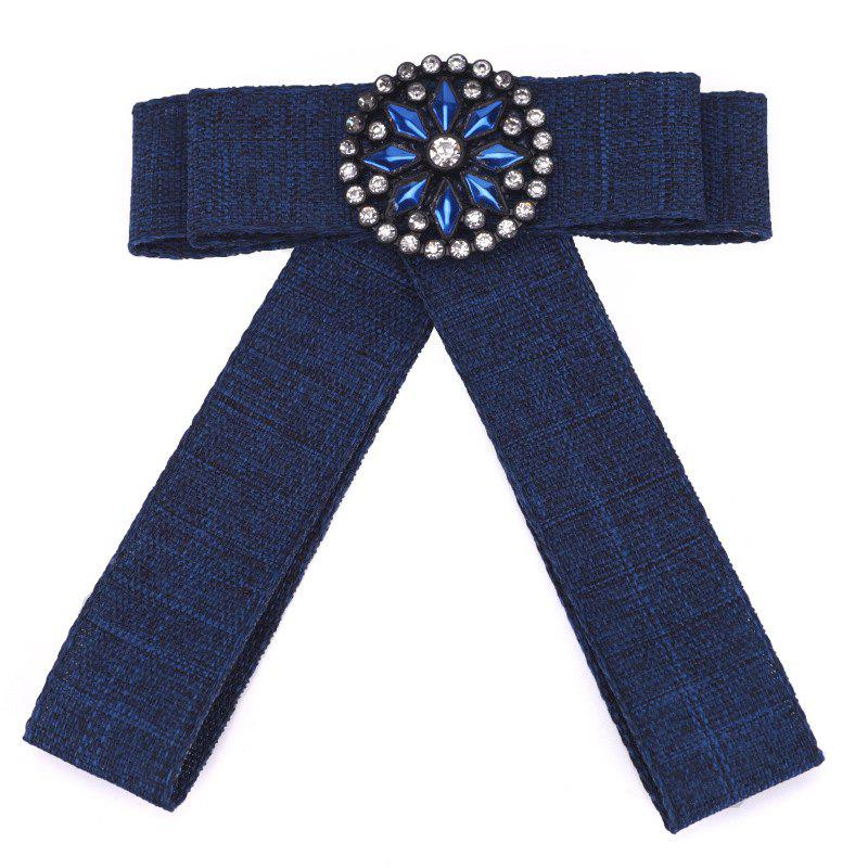 New Fashion Rectangular Rhinestone Bowknot Brooch Boutonniere Dual Use Temperament Cravat Crystal Tie Accessories - BLUE