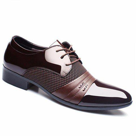 Men Formal Pointed Toe Lace Up Business Blucher Shoes - BROWN 43