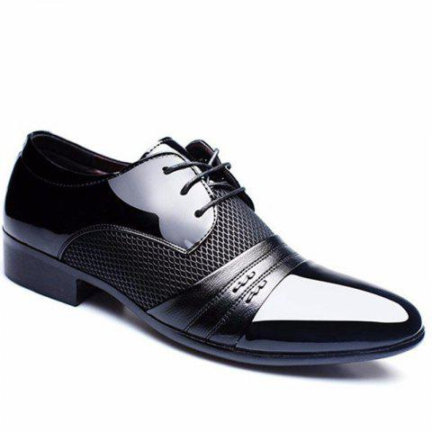 Men Formal Pointed Toe Lace Up Business Blucher Shoes - BLACK 43