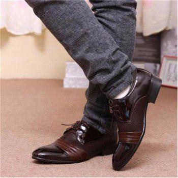 Men Formal Pointed Toe Lace Up Business Blucher Shoes - BROWN 44
