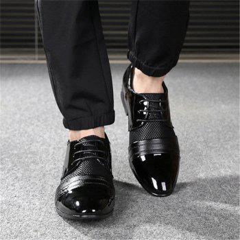 Men Formal Pointed Toe Lace Up Business Blucher Shoes - BLACK 44