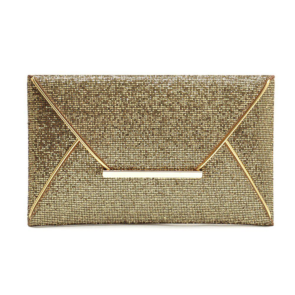 Ladies Fashion Modern Sequin Envelope Dinner Clutch - GOLDEN HORIZONTAL