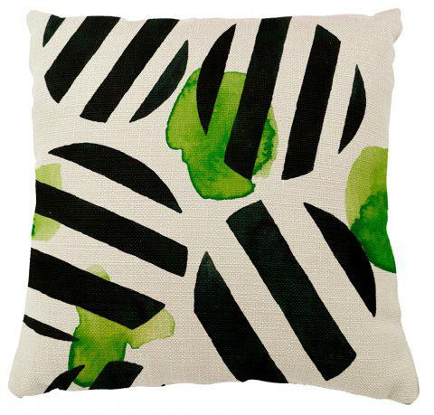 Geometric Stripes Creative Fresh Green Leaves Home Adornment Cushion Cover - COLORMIX 16INCH X16INCH