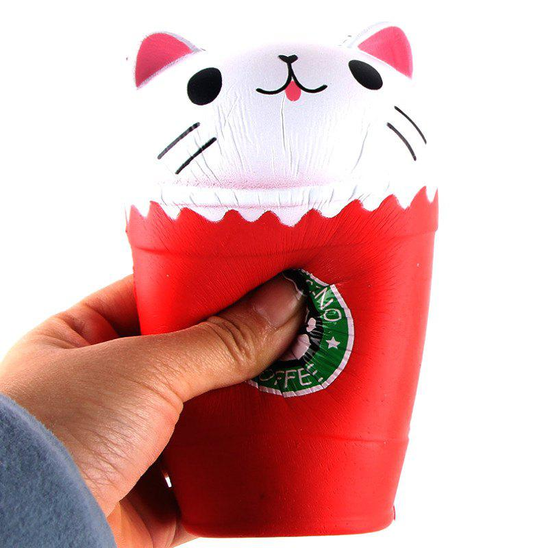 Jumbo Squishy PU Slow Rebound Stress Relief Toy Replica Cartoon Cat Head Coffee Cup for Adults - RED