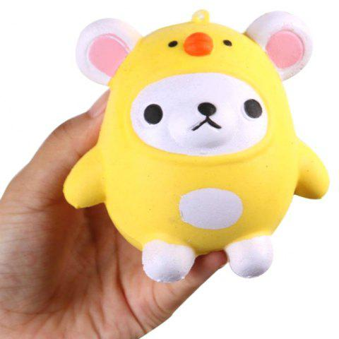 Jumbo Squishy PU Slow Rising Stress Rebound Pendant Toy Cartoon Chick for Adults - WHITE