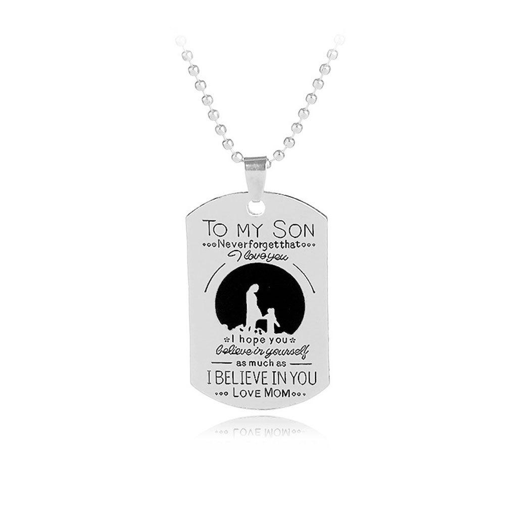 Letter Mother And Child Tag Pendant Necklace - SILVER