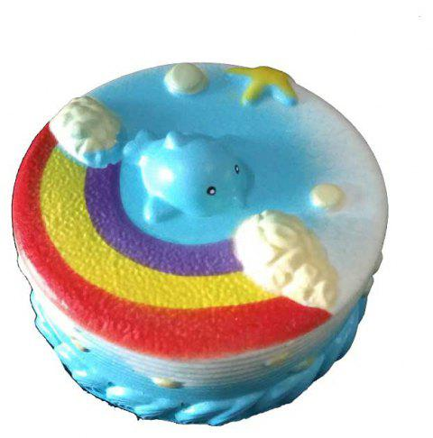 Jumbo Squishy PU Slow Rising Stress Relief Toy Replica Rainbow Cake for Adults - BLUE