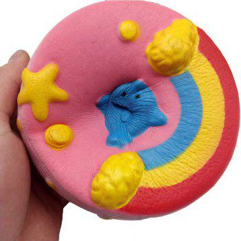 Jumbo Squishy PU Slow Rising Stress Relief Toy Replica Pink Rainbow Cake for Adults - PINK