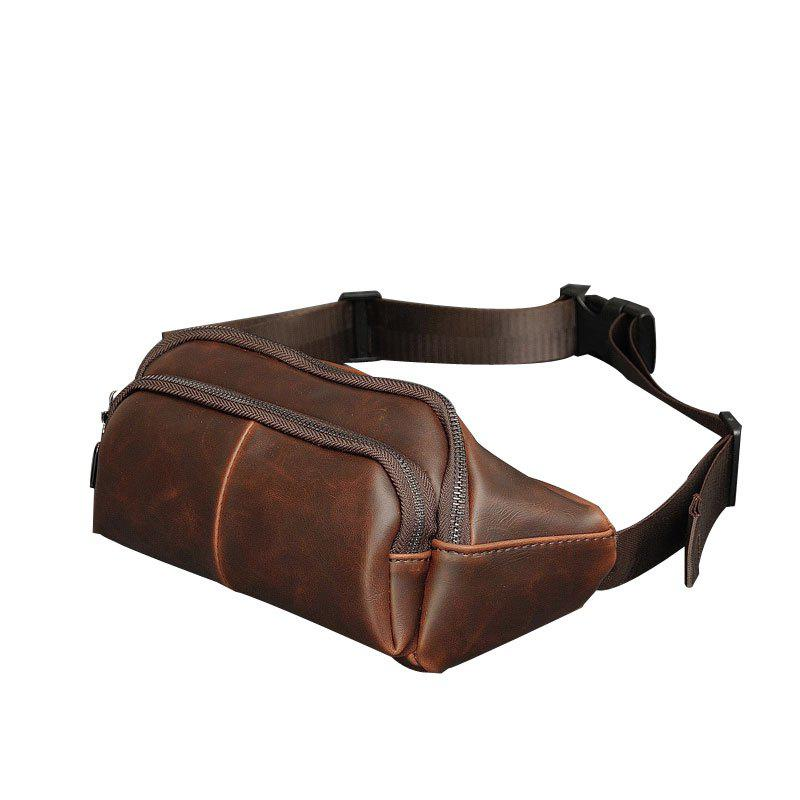 New Men Crossbody Korean Casual Waist Pack Crazy Horse Unbalance Backpack Vintage Sling Bag - MOCHA