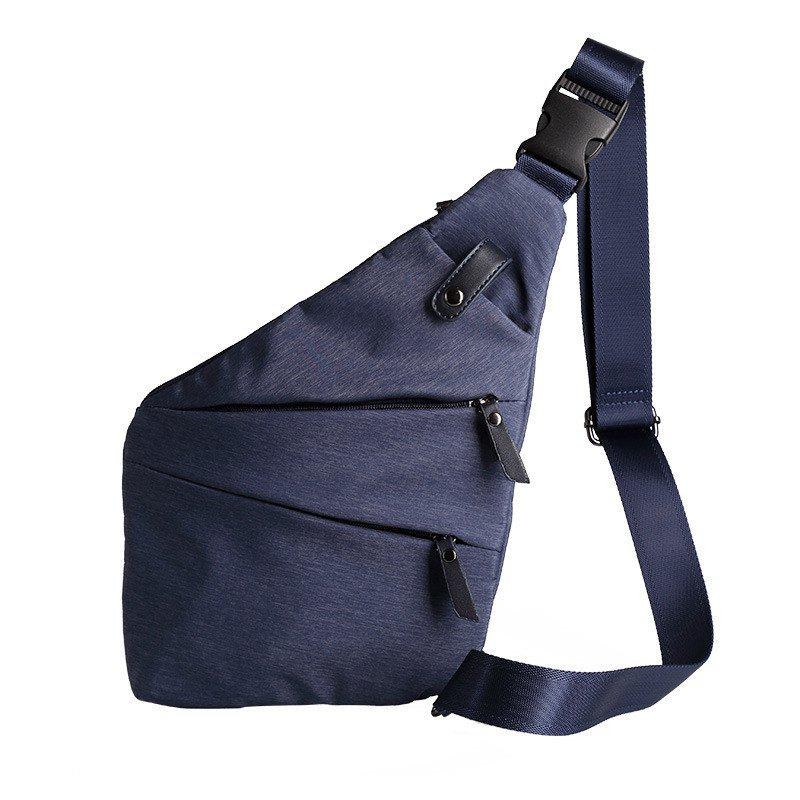 New Crossbody Chest Pack Unique Canvas Cloth Chest Pack Fashion Small Cycling Unbalance Backpack - BLUE