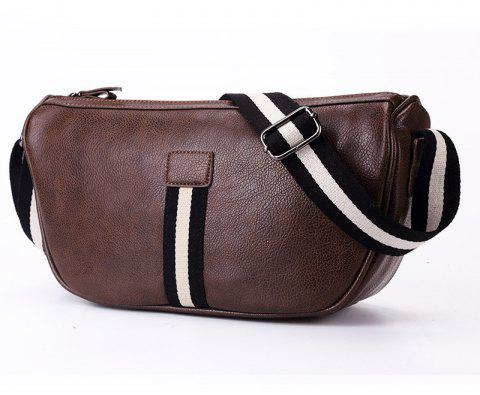 Korean Single Shoulder Bag Men Casual Fashion Waist Pack Unbalance Backpack Leather - BROWN
