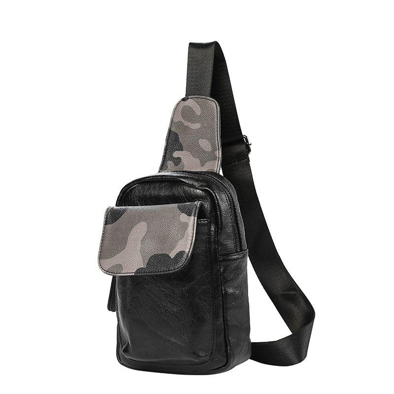 Camouflage New Unbalance Backpack Men Korean Crossbody Bag Waist Pack - BLACK