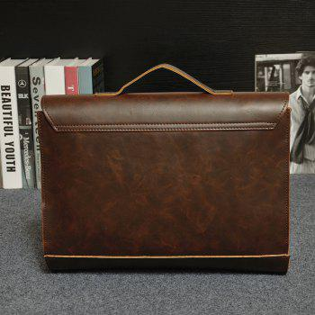 Men Business Crazy Horse Porte-documents en cuir Messenger Bag Sac à main - Moka