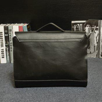 Men Business Crazy Horse Porte-documents en cuir Messenger Bag Sac à main - Noir