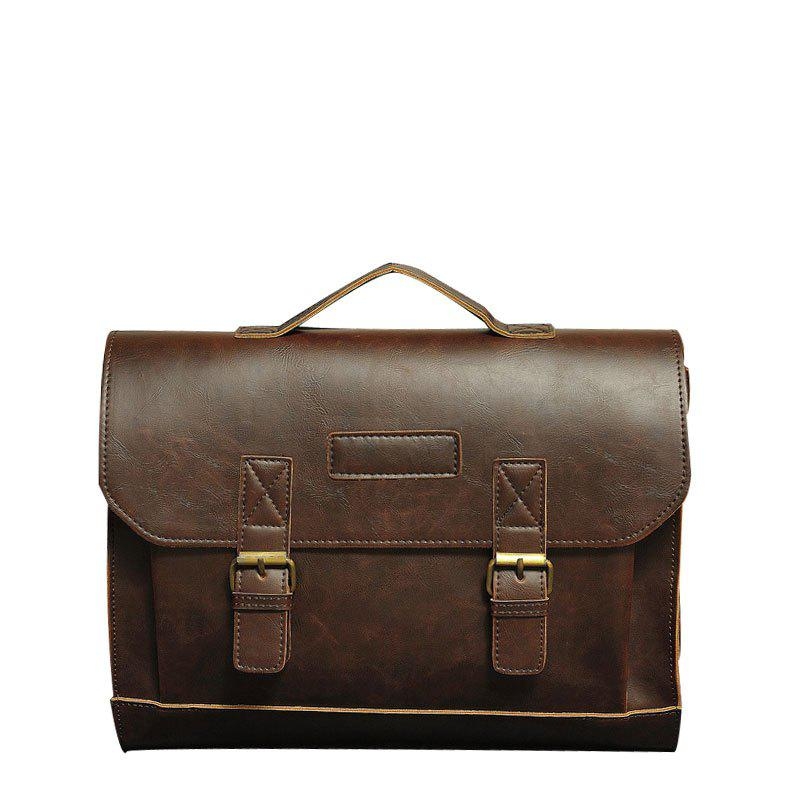 Men Business Crazy Horse Leather Briefcase Messenger Bag Handbag - MOCHA