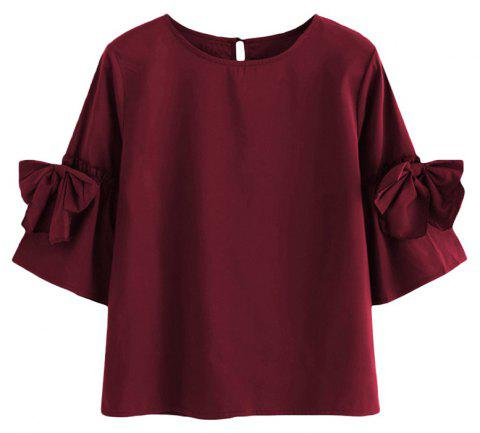 Bow-Knot Horn Sleeve Large Size Code Pure Color Shirt - WINE RED XL