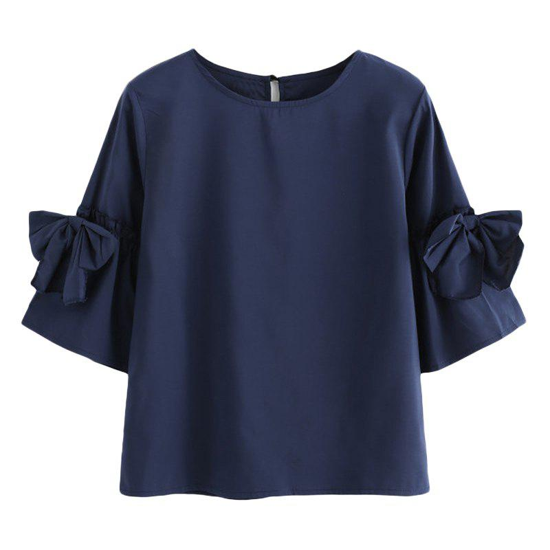 Bow-Knot Horn Sleeve Large Size Code Pure Color Shirt - CADETBLUE L