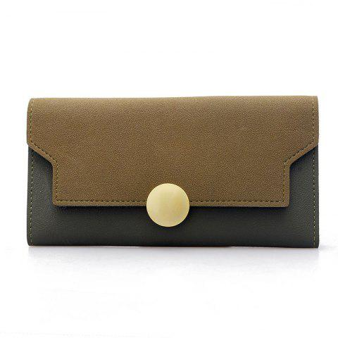 Fashion Simple Metal Decoration Two Fold Wallet - GREEN