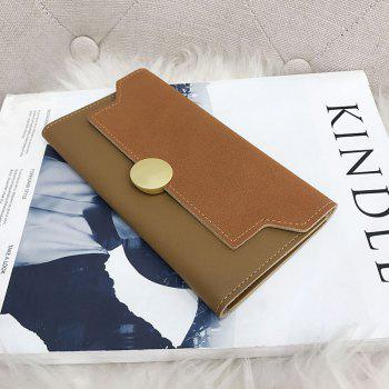 Fashion Simple Metal Decoration Two Fold Wallet - BROWN