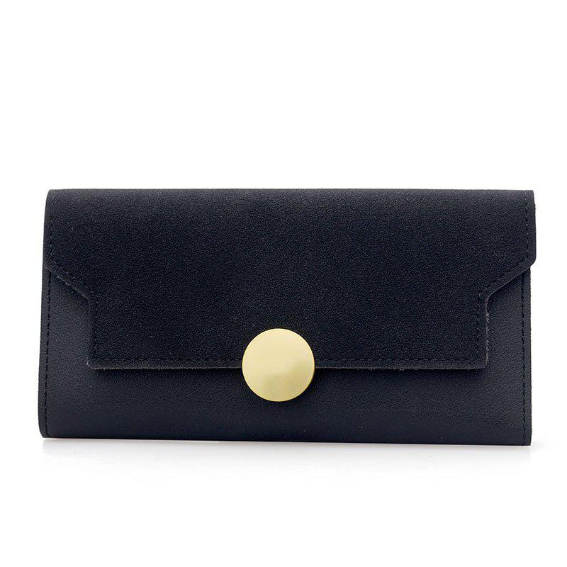 Fashion Simple Metal Decoration Two Fold Wallet - BLACK
