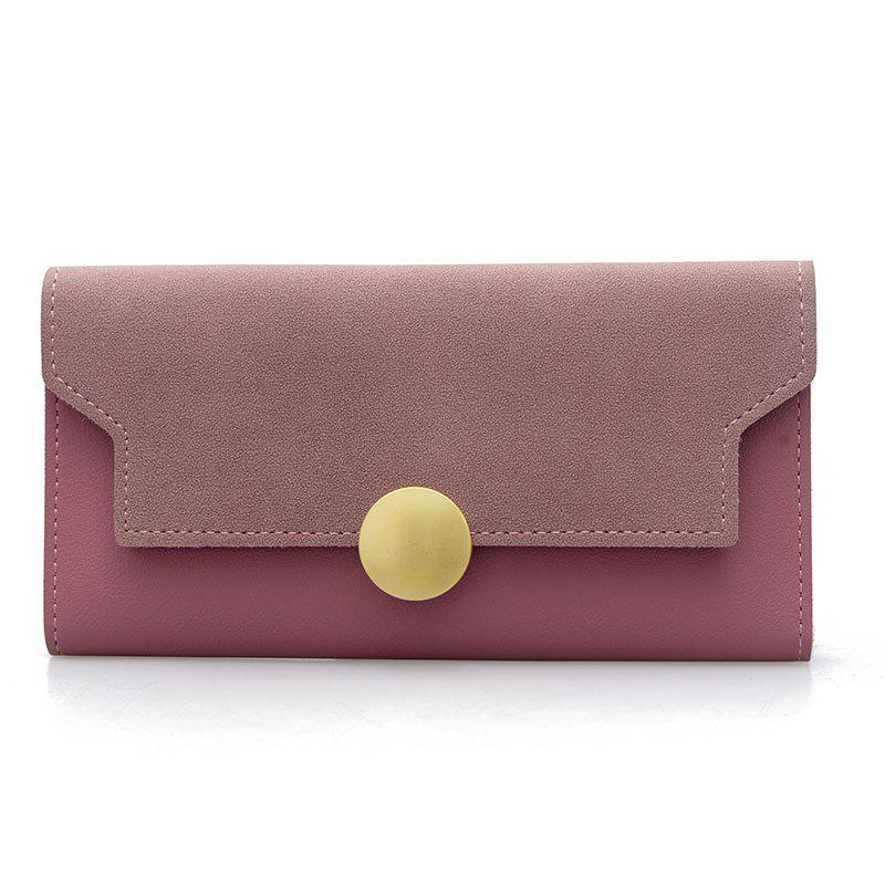 Fashion Simple Metal Decoration Two Fold Wallet - PINK
