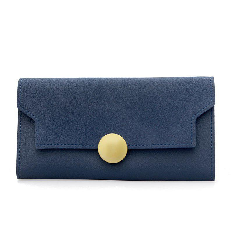 Fashion Simple Metal Decoration Two Fold Wallet - LAPIS