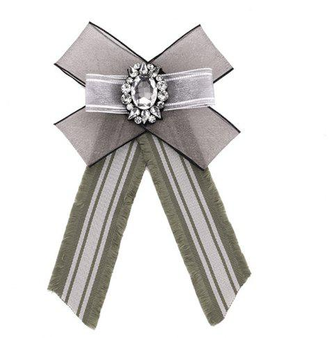 New Polyester Yarn Striped Fabric Bowtie Tie Crystal Tassel Stripe Bowknot Bow Ties Women Ladies Clothing Accessories - GRAY