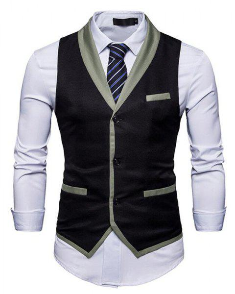 Men's Waistcoat V Neck Business Casual Regular Fit Tuxedo Vest - BLACK L