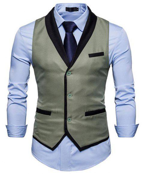 Men's Waistcoat V Neck Business Casual Regular Fit Tuxedo Vest - GRAY L