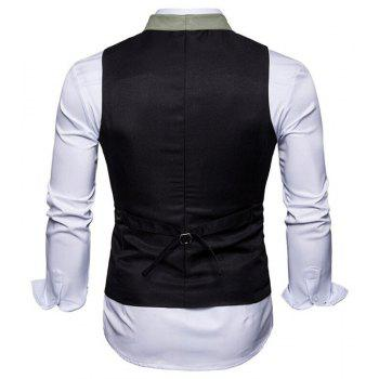 Men's Waistcoat V Neck Business Casual Regular Fit Tuxedo Vest - BLACK 2XL
