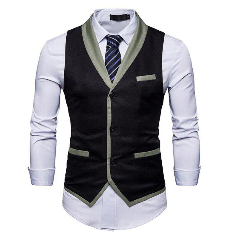 Men's Waistcoat V Neck Business Casual Regular Fit Tuxedo Vest - BLACK M