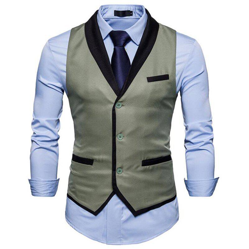Men's Waistcoat V Neck Business Casual Regular Fit Tuxedo Vest - GRAY S