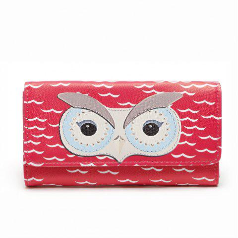 Popular Cartoon Cute Owl Wallet Women Fashion Korean Girls Long Purse Carteras Gift - RED